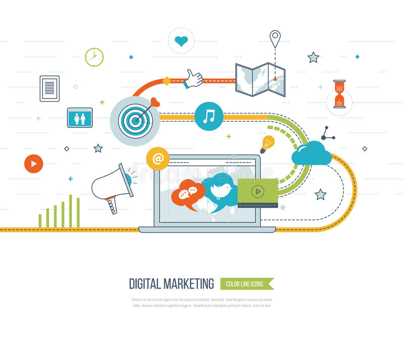 Digital marketing and social network concept. Marketing strategy vector illustration