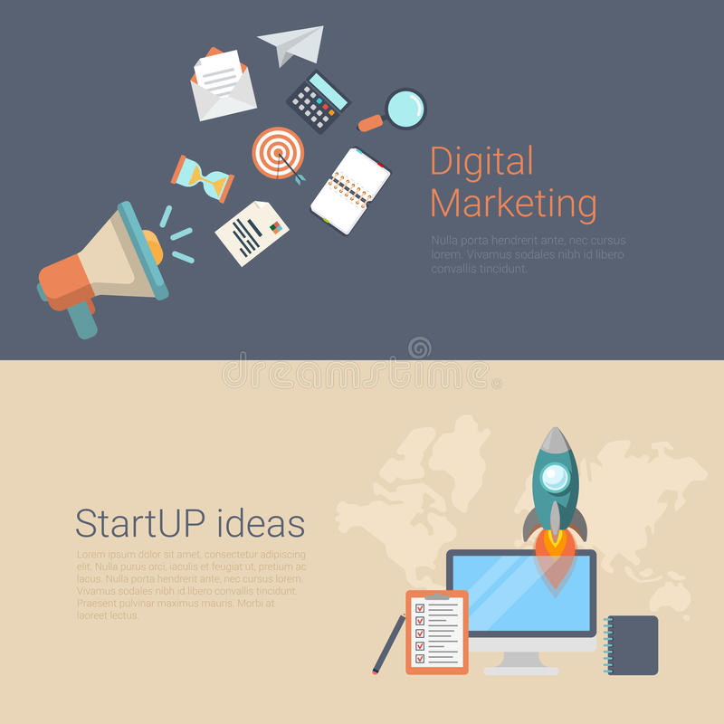 Digital marketing startup ideas flat infographics banner slider. Flat style website slider banner digital marketing startup ideas concept web infographics vector illustration