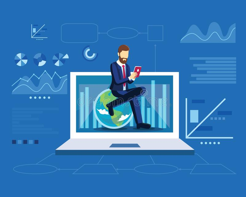 Digital marketing strategy concept with business man sit on globe in modern flat design template for web landing page, banner, vector illustration