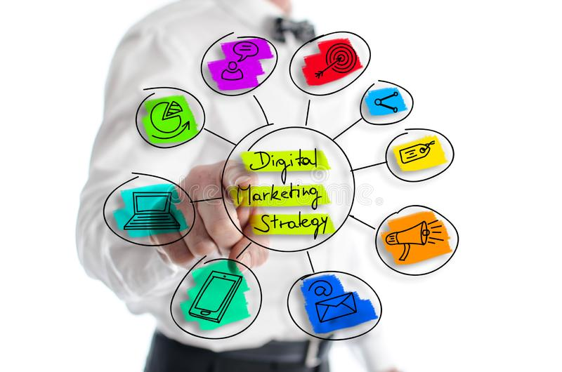 Digital marketing strategy concept shown by a man. In background royalty free stock image