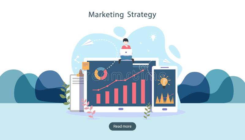 Digital marketing strategy concept with tiny people character, table, graphic object on computer screen. online social media. Marketing modern flat design for royalty free illustration