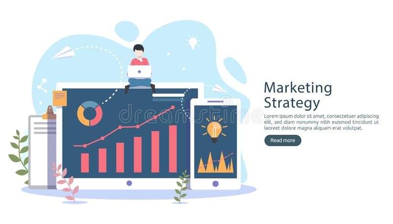 Digital marketing strategy concept with tiny people character, table, graphic object on computer screen. online social media. Marketing modern flat design for stock illustration