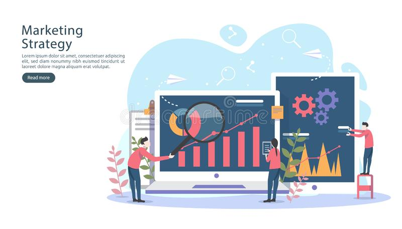 Digital marketing strategy concept with tiny people character, table, graphic object on computer screen. online social media. Marketing modern flat design for vector illustration