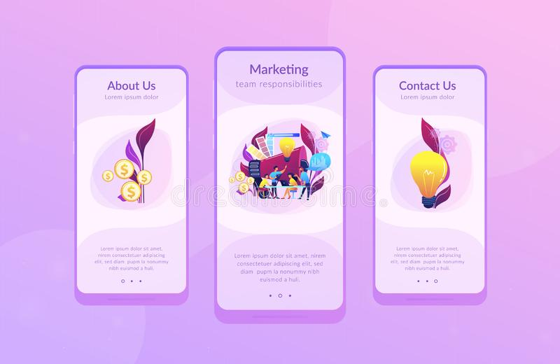 Digital marketing team app interface template. stock illustration