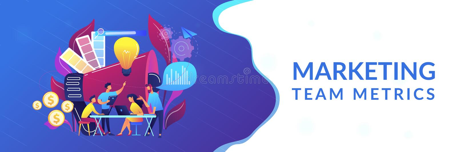Digital marketing team concept banner header. vector illustration