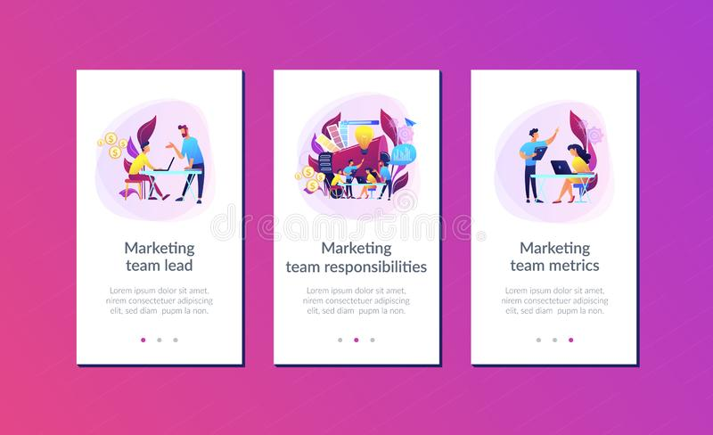 Digital marketing team app interface template. royalty free illustration