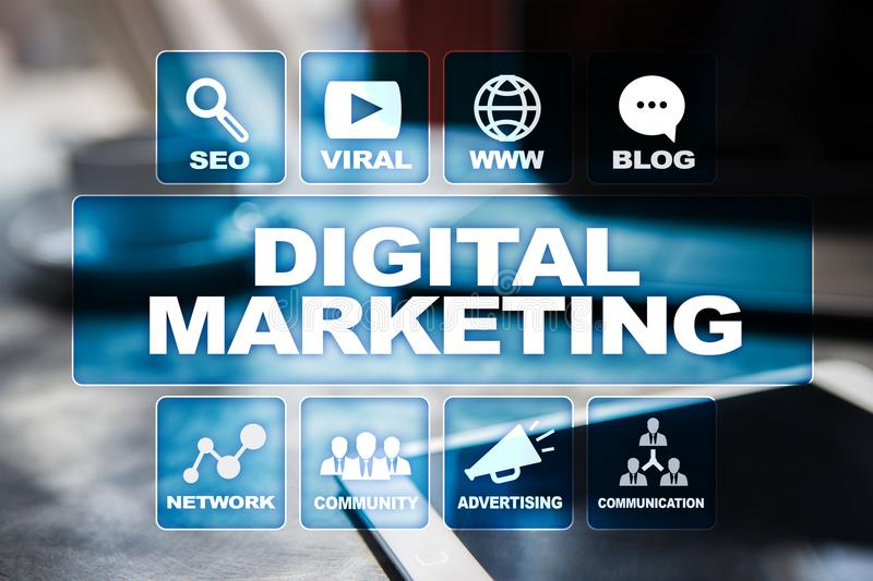 DIgital marketing technology concept. Internet. Online. Search Engine Optimisation. SEO. SMM. Advertising. stock photo