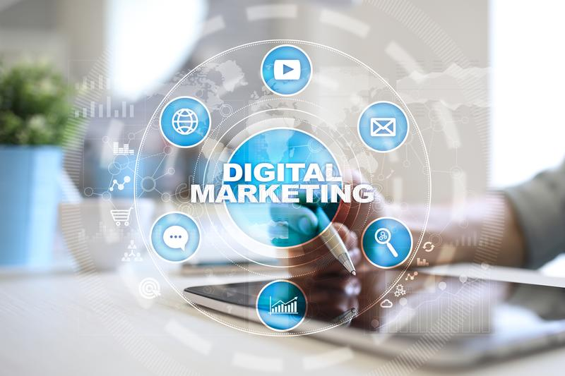 DIgital marketing technology concept. Internet. Online. Search Engine Optimisation. SEO. SMM. Advertising. royalty free stock photo