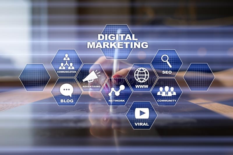 Digital marketing technology concept. Internet. Online. Search Engine Optimisation. SEO. SMM. Video Advertising. royalty free stock images
