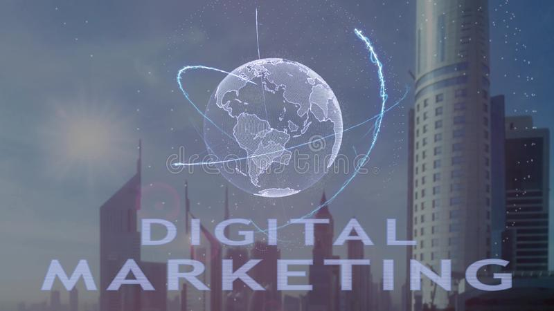 Digital marketing text with 3d hologram of the planet Earth against the backdrop of the modern metropolis royalty free stock photo