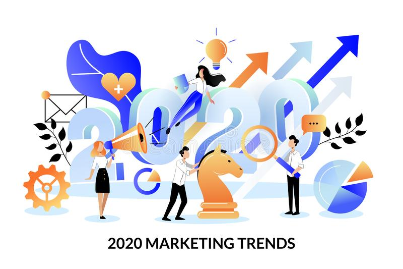 Digital marketing trends, strategy, business plan for 2020 year. Vector illustration. Expectation, perspective concept vector illustration
