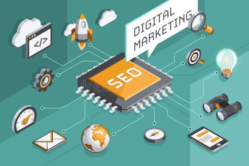 Download Digital-Marketing Und Seo Konzept Vektor Abbildung - Illustration: 106049007