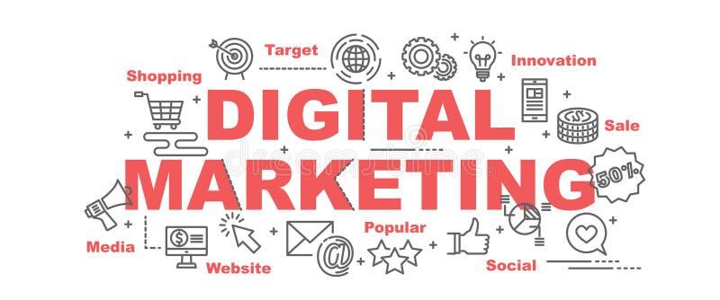 Digital-Marketing-Vektorfahne lizenzfreie abbildung