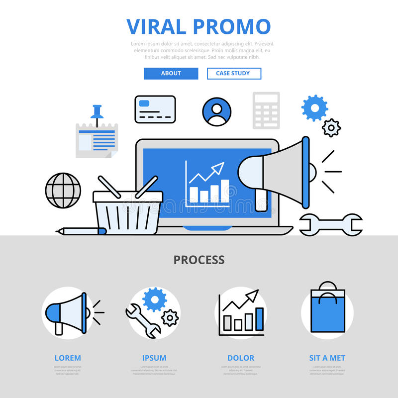 Digital marketing viral promo promotion concept flat line art vector icons stock illustration
