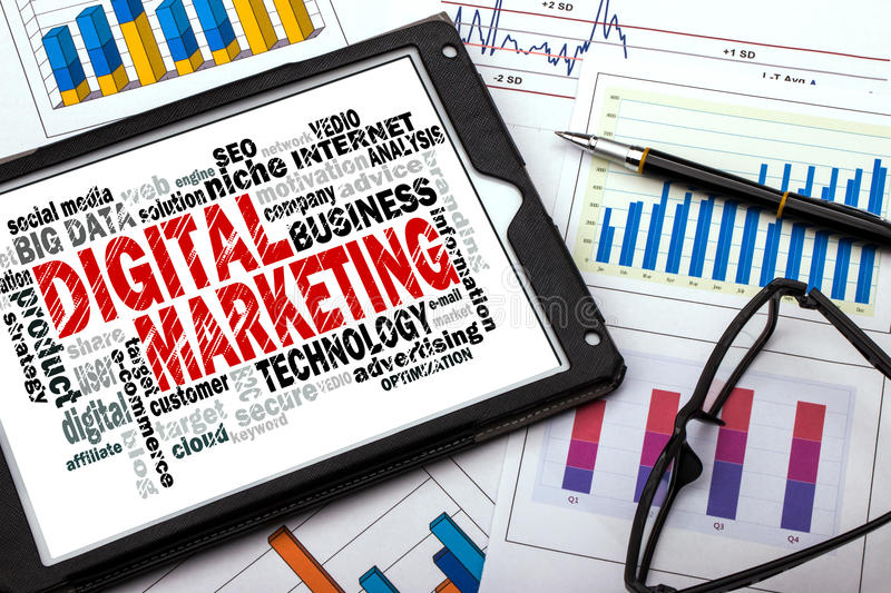 Digital marketing word cloud. With related tags stock photos