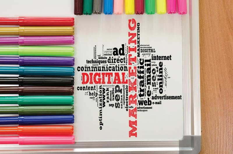 Digital marketing word cloud stock photography