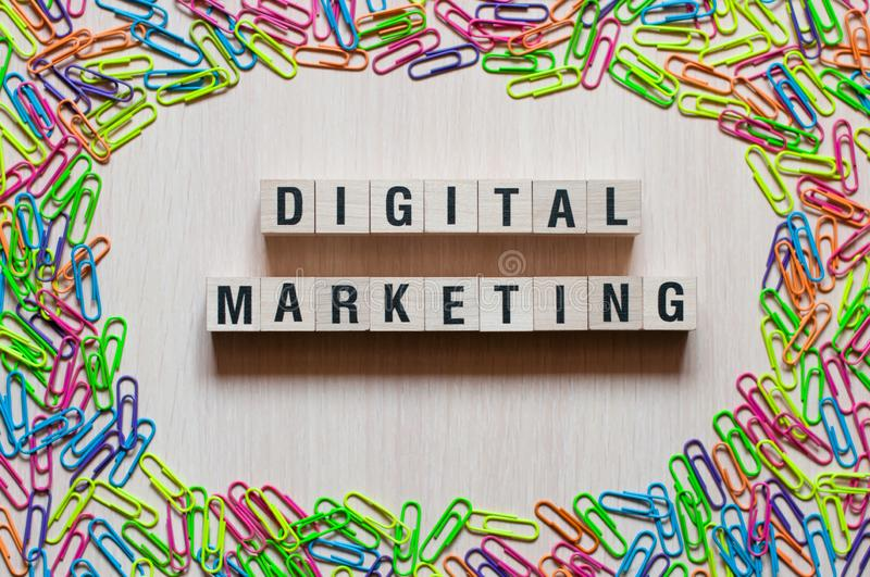 Digital Marketing words concept on cubes stock images