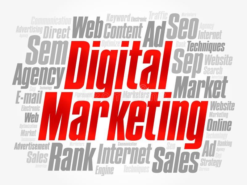 Digital-Marketing-Wortwolkencollage stock abbildung