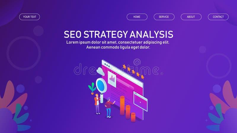 Digital marknadsförare som analyserar sökanderangen och framkallar bättre strategi för sökandemotoroptimization, begrepp vektor illustrationer
