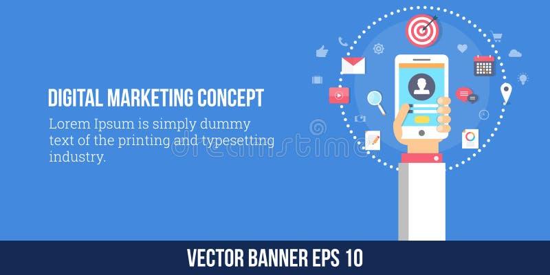 Digital marknadsföring, mobil marknadsföringsstrategi Plant designvektorbaner royaltyfri illustrationer