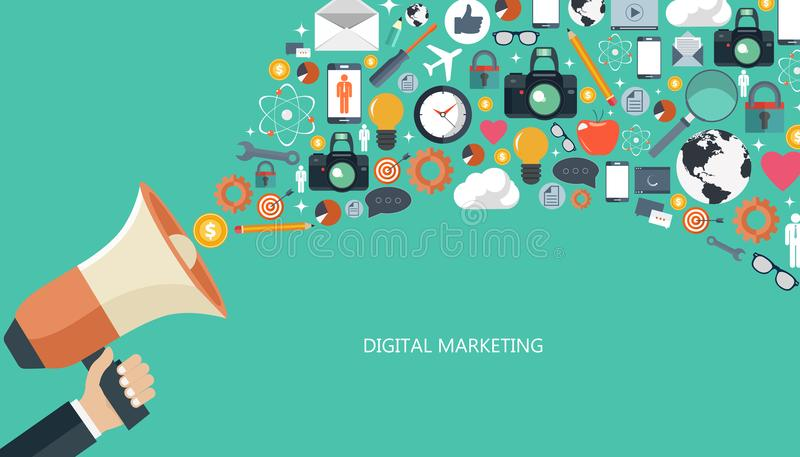 Digital marknadsföring och advertizingbegrepp Plan illustration vektor illustrationer