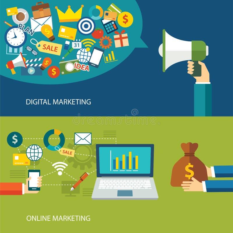 Digital marknadsföring och online-marknadsföringslägenhetdesign vektor illustrationer