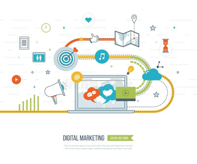 Digital marknadsföring och socialt nätverksbegrepp Marknadsföringsstrategi vektor illustrationer
