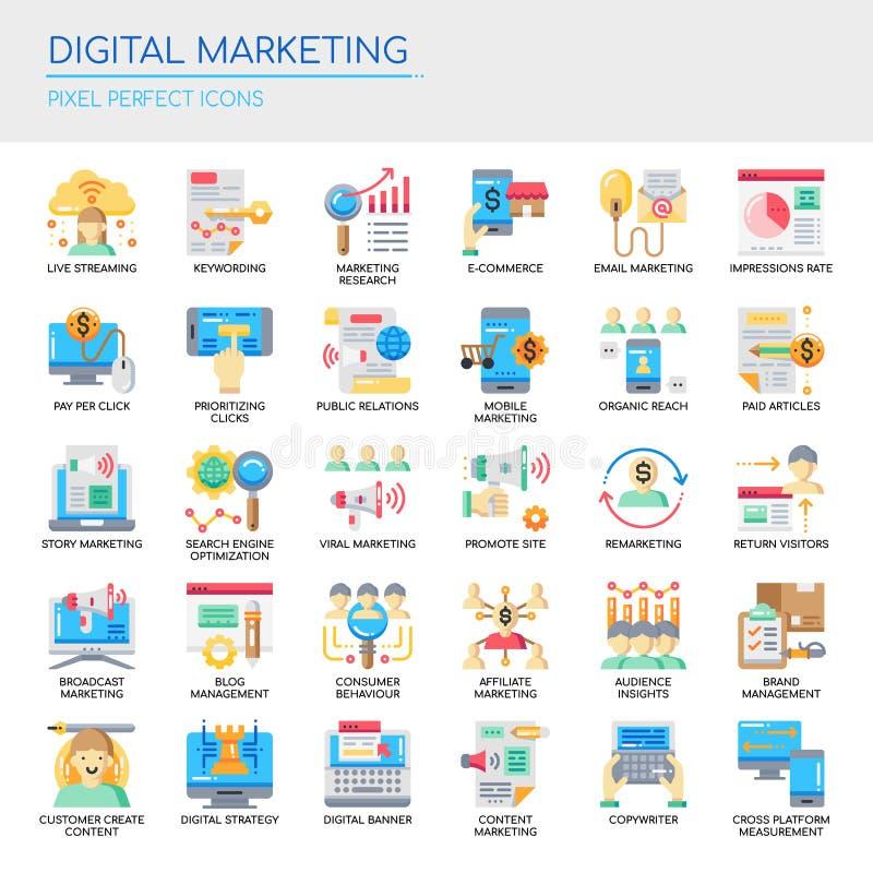 Digital marknadsföring, perfekta symboler för PIXEL stock illustrationer
