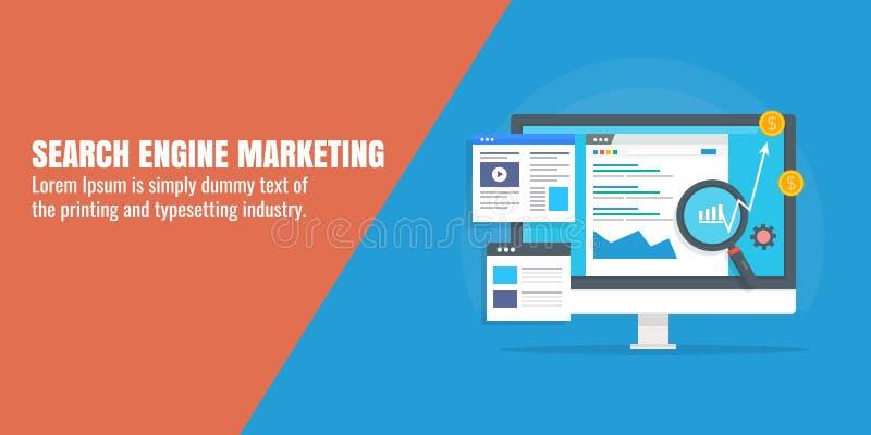 Digital marknadsföring - sök motormarknadsföringen - SEM 2000 - den Adword aktionen - PPC-begrepp Plant designvektorbaner vektor illustrationer