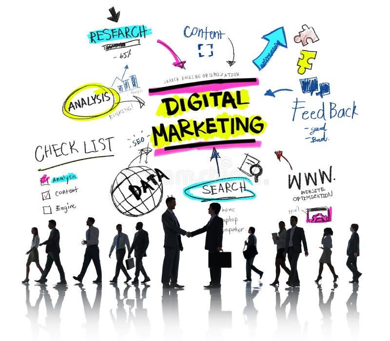 Digital marknadsföring som brännmärker strategi online-massmediabegrepp arkivfoton