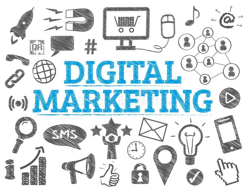 Digital marknadsföringsbegrepp stock illustrationer