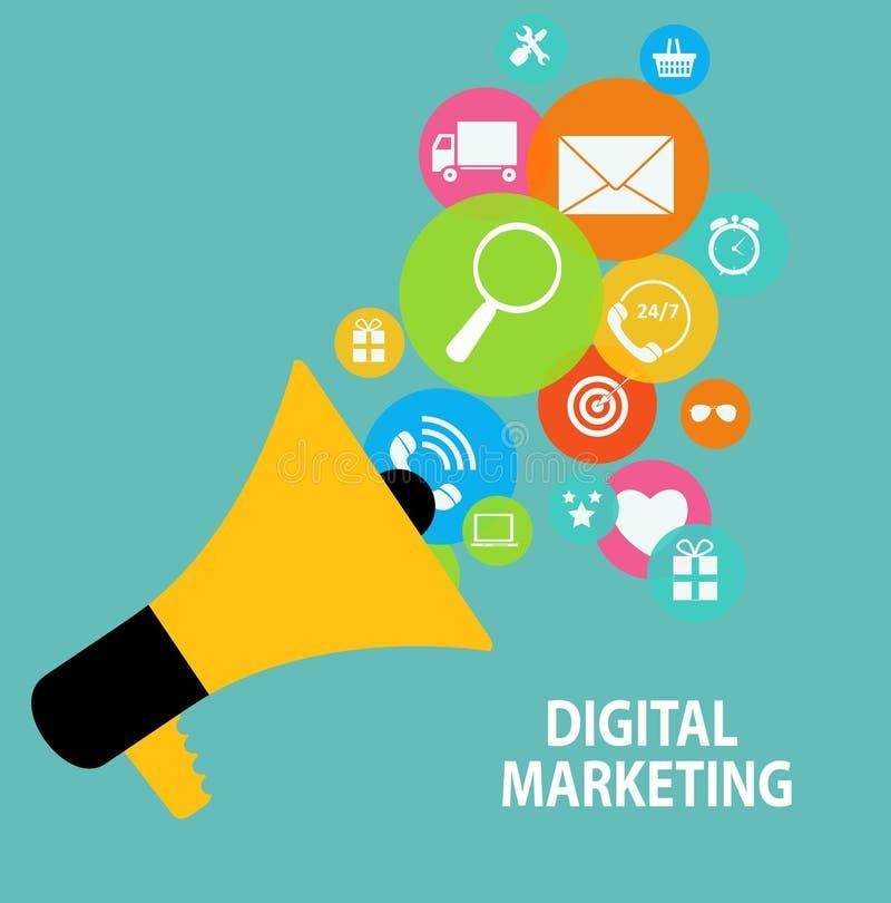 Digital marknadsföringsbegrepp för olikt elektroniskt stock illustrationer