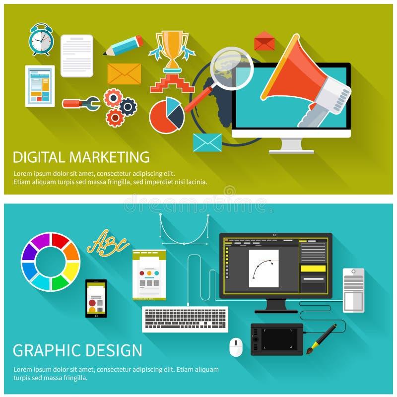 Digital marknadsföringsbegrepp planlägg diagrammet stock illustrationer