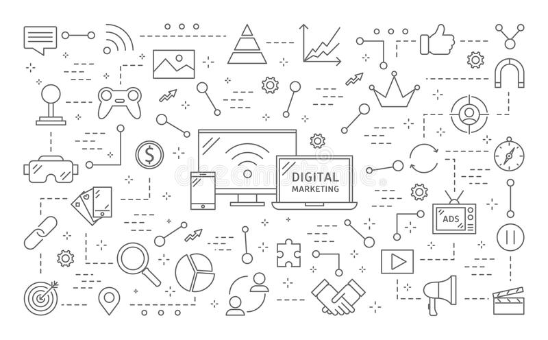 Digital marknadsföringsillustration stock illustrationer