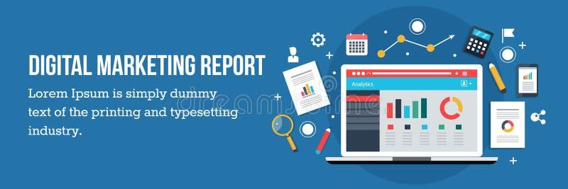Digital marknadsföringsrapport, baner för rengöringsduk för design för rengöringsdukanalyslägenhet stock illustrationer