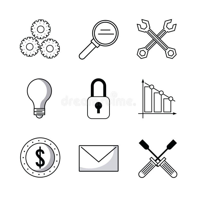 Digital marknadsföringssymboler stock illustrationer