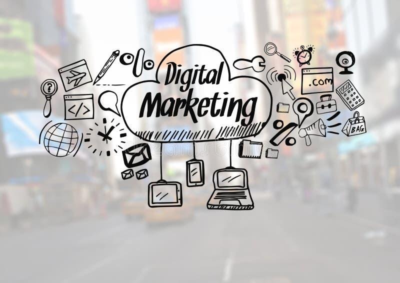 Digital marknadsföringstext med teckningsdiagram vektor illustrationer