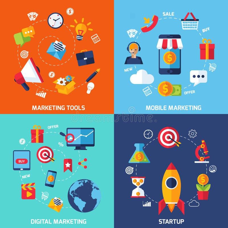 Digital marknadsföringsuppsättning royaltyfri illustrationer