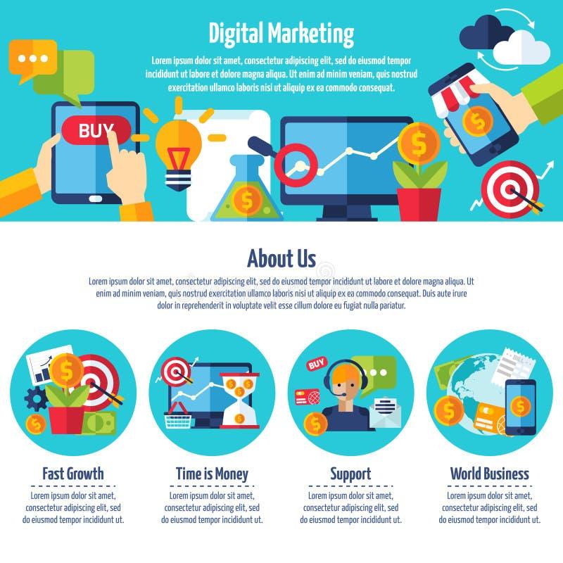 Digital marknadsföringswebbplats stock illustrationer