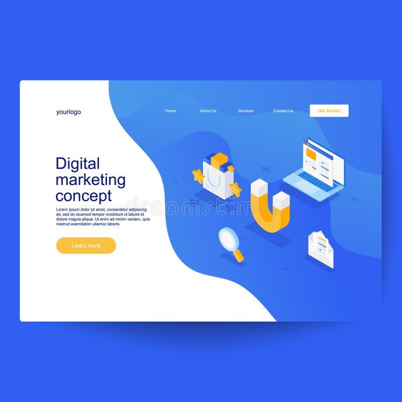 Digital marknadsf?ringsbegrepp Kan använda för för räkningar, hälsningkort, affisch eller reklamblad vektor illustrationer