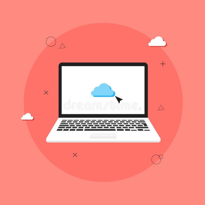 Digital marknadsf?ringsbegrepp smartphonen surfar p? molnet i himmel Visualization av arbetet av b?rbara datorn, med programvara royaltyfri illustrationer