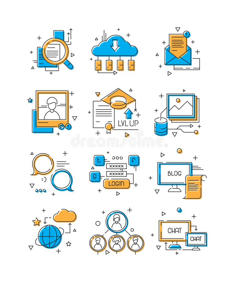 Digital media icons. Social marketing, community people group to web talk mobile connection illustrative colored line stock illustration