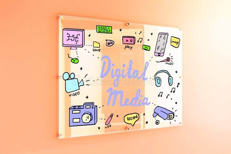 Digital media sketch royalty free illustration