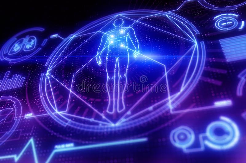 Digital medical interface backdrop. Digital medical interface on dark backdrop. Science and technology concept. 3D Rendering stock illustration