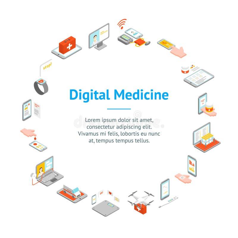 Digital Medicine 3d Banner Card Circle Isometric View. Vector vector illustration