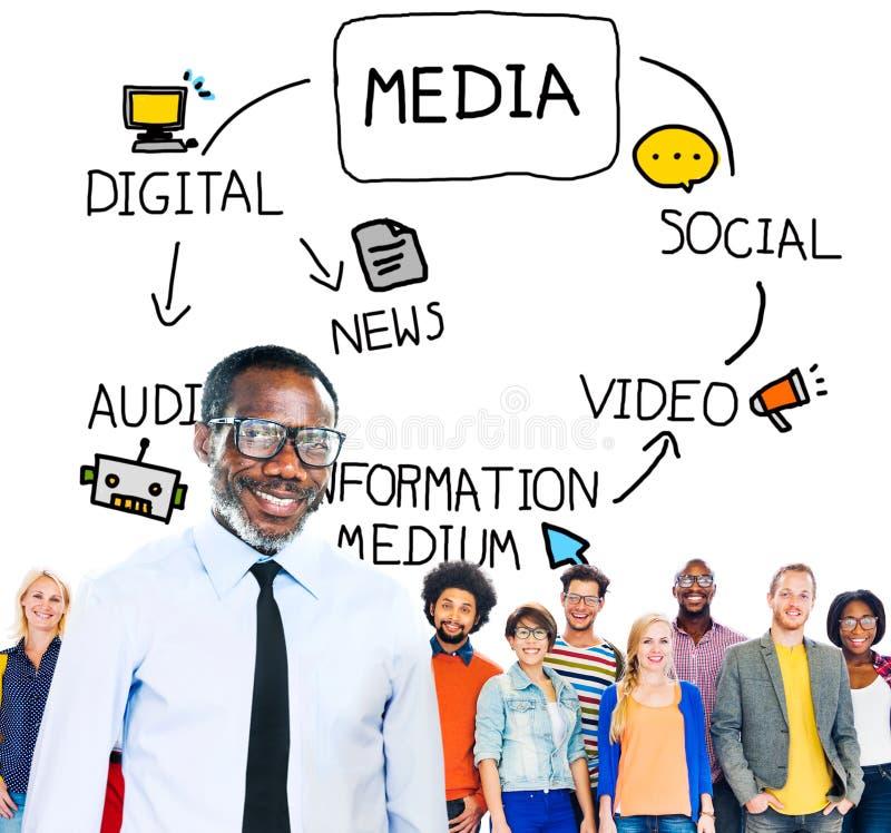 Digital-Medieninformations-Informationsmedium-Nachrichten-Konzept lizenzfreie stockbilder