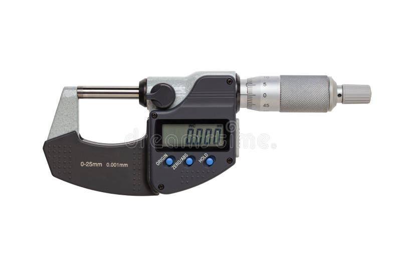 Digital mikrometer 0-25mm bakgrund isolerad white arkivbilder