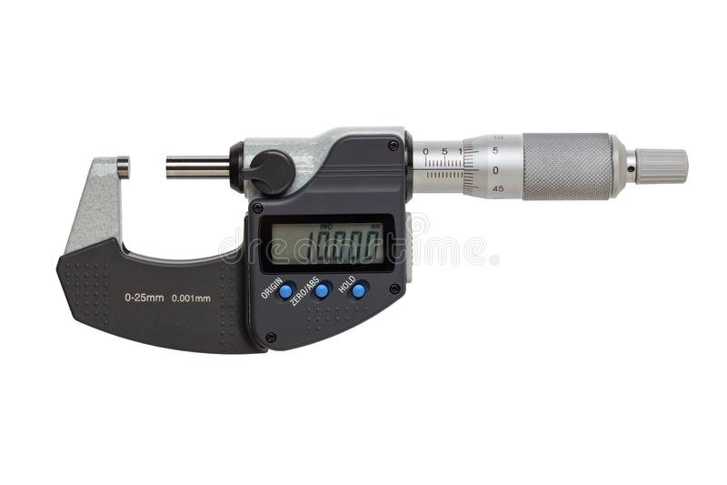 Digital mikrometer 0-25mm bakgrund isolerad white royaltyfri foto