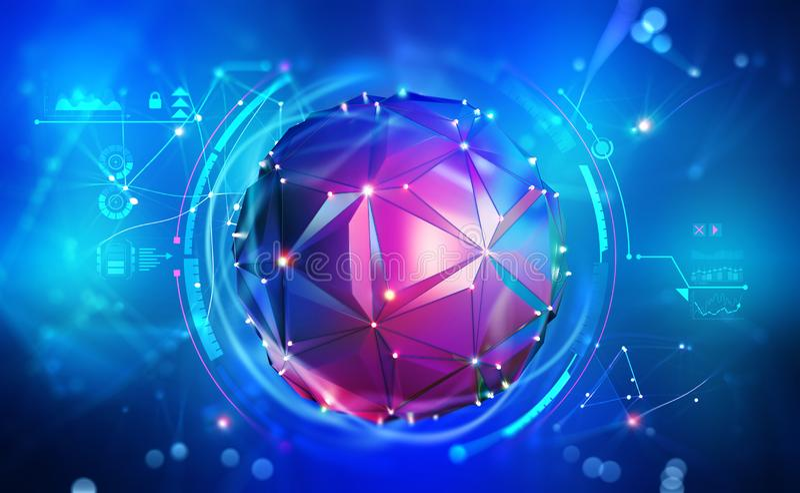 Digital mind. Artificial intelligence. Wireless network technology. Digital mind. Work on the creation of artificial intelligence. Wireless network technology royalty free illustration