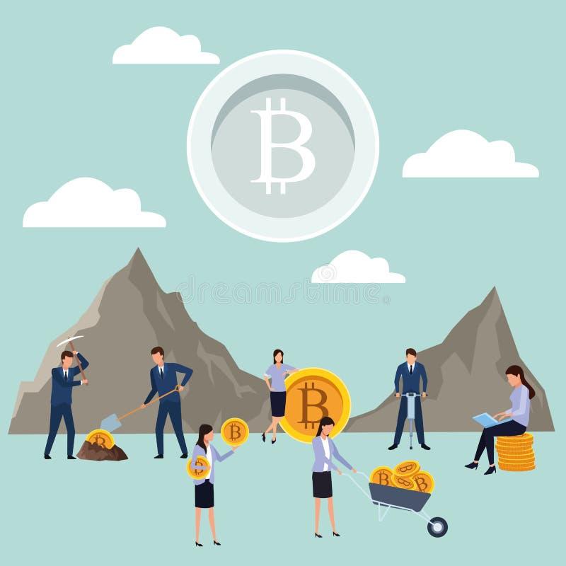 Digital mining bitcoin teamwork stock illustration
